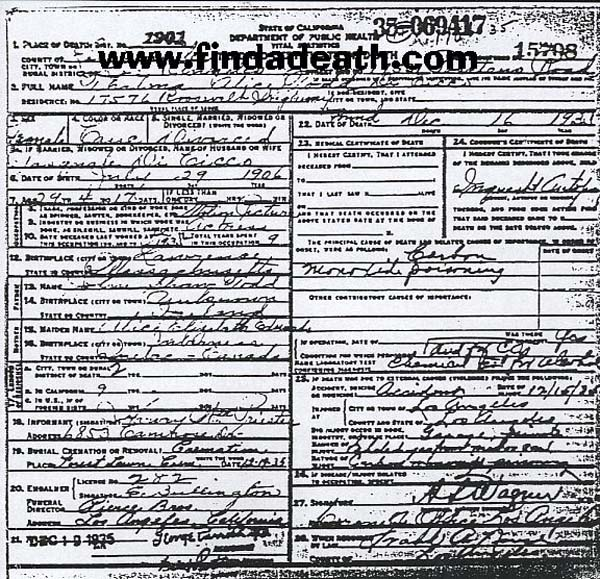 Thelma Todd's Death Certificate