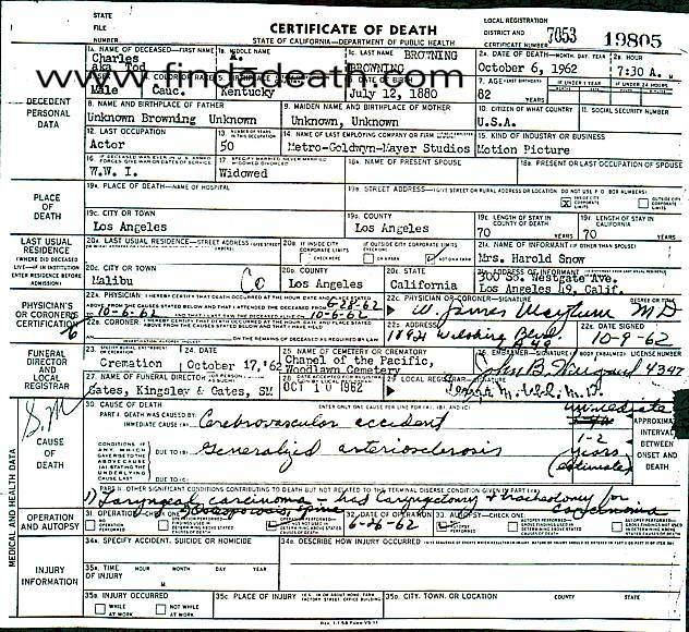 Tod Browning's Death Certificate
