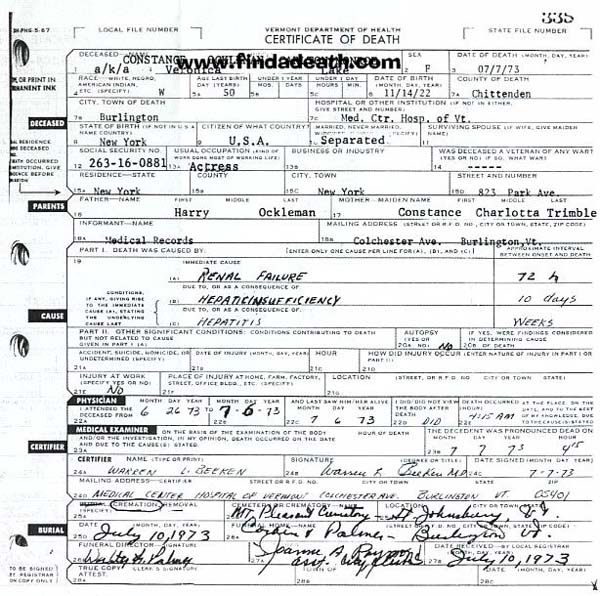 Veronica Lake's Death Certificate