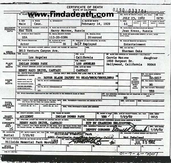 Vic Morrow's Death Certificate
