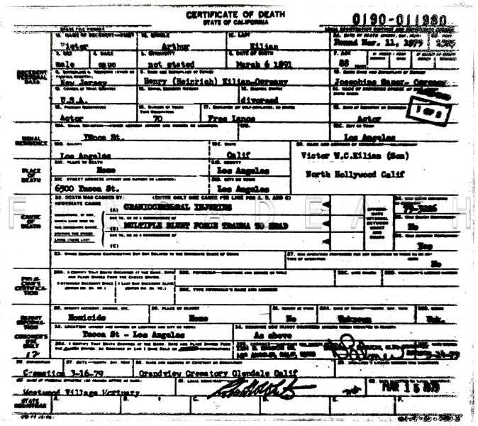 Victor Kilian's Death Certificate