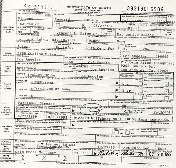 Vincent Price's Death Certificate
