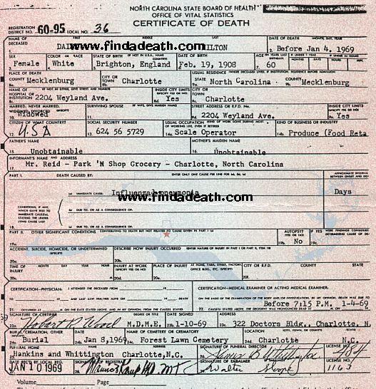 Daisy Hilton's Death Certificate