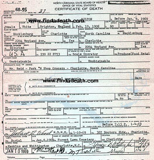 Violet Hilton's Death Certificate
