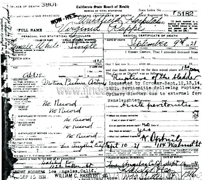 Virginia Rappe's Death Certificate