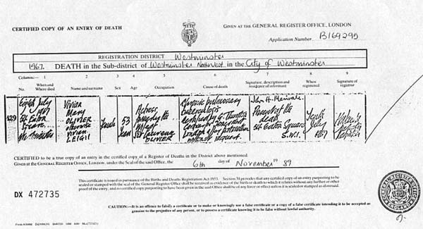 Vivien Leigh's Death Certificate