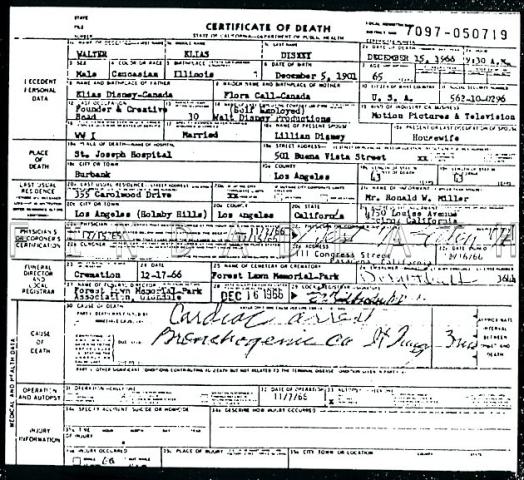 Walt Disney's Death Certificate