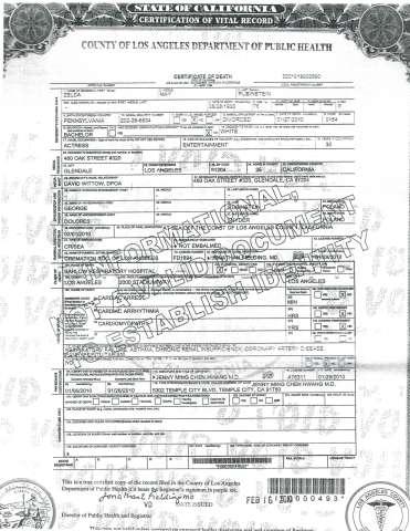 Zelda Rubinstein's Death Certificate